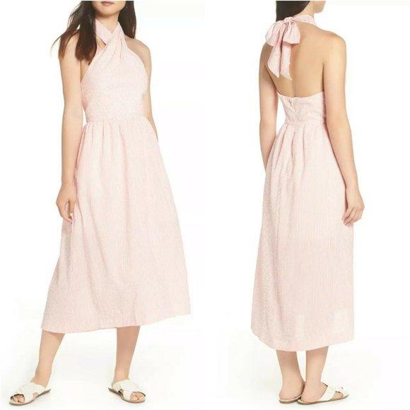 J.Crew Pink White Sarong Seersucker Midi Dress